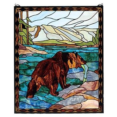 Meyda Tiffany Grizzly Bear Stained Glass Window