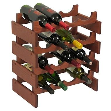 Wooden Mallet Dakota 16 Bottle Floor Wine Rack; Mahogany