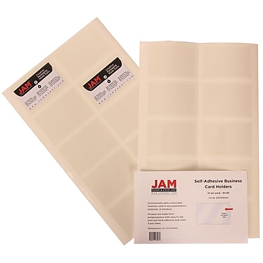 JAM Paper® Self Adhesive Business Card Holder Pocket, Clear, 6 packs of 10 (6187815065g)