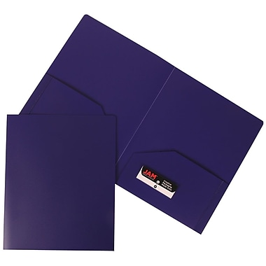JAM Paper® Plastic Heavy Duty Two Pocket Folders, Purple, 108/Pack (383HPUB)