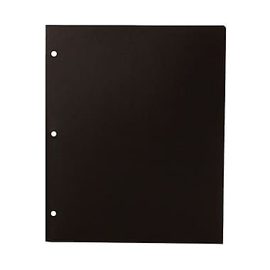 JAM Paper® Plastic Heavy Duty 3 Hole Punched 2 Pocket School Folders, Black, 108/Pack (383HHPBUA)
