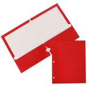 JAM Paper® Two Pocket Red Glossy 3 Hole Punched Folder, 100/Pack