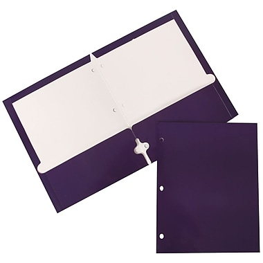 JAM Paper® Glossy 2 Pocket 3 Hole Punched Folders, Purple, 100/Pack (385GHPPUB)