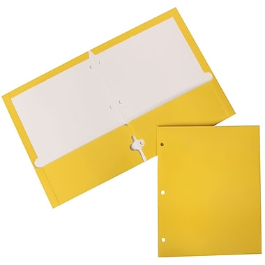 JAM Paper® Glossy 2 Pocket 3 Hole Punched Folders, Yellow, 100/Pack (385GHPYEB)