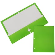 JAM Paper® Two Pocket Lime Green Glossy 3 Hole Punched Presentation Folder, 6/Pack