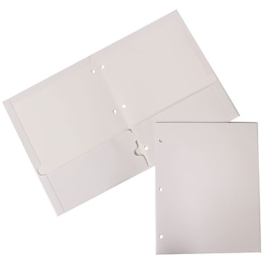 JAM Paper® Glossy 2 Pocket 3 Hole Punched Folders, White, 100/Pack (385GHPWHB)
