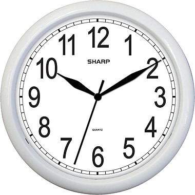 MZB SPC958 Sharp 10in. Quartz Analog Wall Clock, White