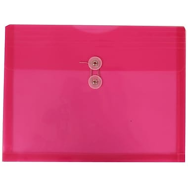 JAM Paper® Plastic Envelopes with Button and String Tie Closure, Letter Booklet, 9.75 x 13, Fuchsia Pink Poly, 12/Pack (218B1FU)