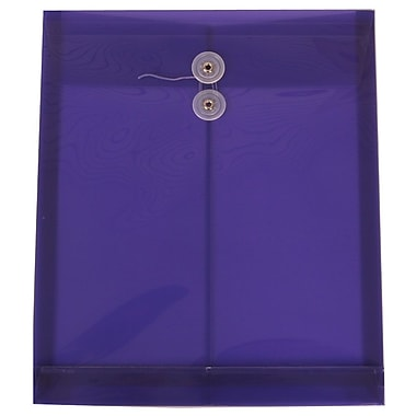 JAM Paper® Plastic Envelopes with Button and String Tie Closure, Letter Open End, 9.75 x 11.75, Purple Poly, 12/Pack (118B1PU)