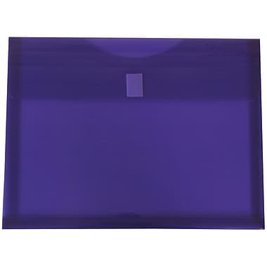 JAM Paper® Plastic Envelopes with VELCRO® Brand Closure, 1 Expansion, Letter Booklet, 9.75 x 13, Purple Poly, 12/Pack (218V1PU)