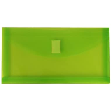 JAM Paper® #10 Plastic Envelopes with VELCRO® Brand Closure, 1 Expansion, 5 1/4 x 10, Lime Green Poly, 12/pack (921V1LI)