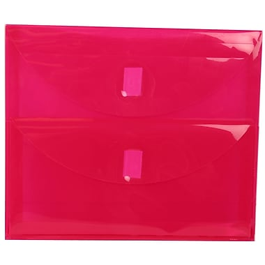 JAM Paper® Plastic 2 Pocket Envelopes, VELCRO® Brand Closure, Letter Booklet, 9.75 x 13, Pink Poly, 12/Pack (167325938g)