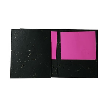 JAM Paper® Handmade Recycled Folders, Black with Gold Fibers, 100/Pack (V093420B100)