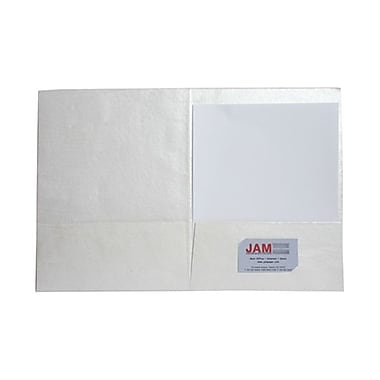 JAM Paper® Handmade Recycled Folders, Metallic White, 6/Pack (5964502g)