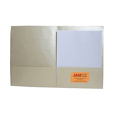 JAM Paper® Handmade Recycled Folders, Metallic Ivory, 500/Pack (05964488C)