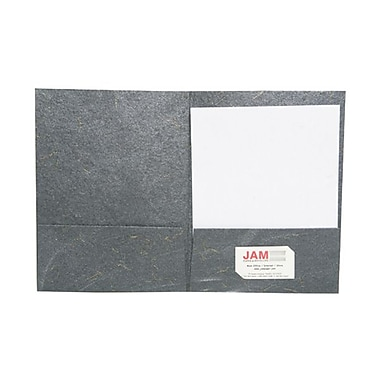 JAM Paper® Handmade Recycled Folders, Metallic Black with Gold Specs, 6/Pack (5964469g)