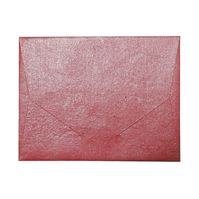 JAM Paper 10 x 13 Booklet Handmade Envelopes Metallic Red Recycled Sold Individually 5964498