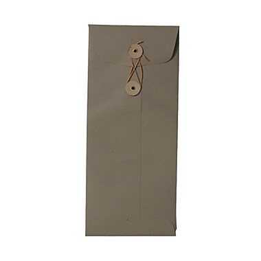 JAM Paper® #10 Policy Envelopes with Button and String Tie Closure, 4 1/8 x 9.5, Simpson Kraft Recycled, 25/Pack (1261600)
