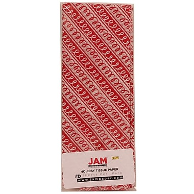 JAM Paper® Christmas Holiday Tissue Paper, Red and White Squiggle Stripe, 8/pack (11824285)