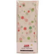 JAM Paper® White Holiday Tissue Paper with Red and Green Christmas Snowflakes, 8/Pack