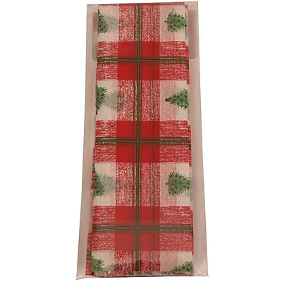 JAM Paper Christmas Holiday Tissue Paper, Christmas Tree Plaid, 480/pack (21186447B) 235436