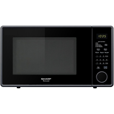 Sharp 1.1 cu. ft. Mid Size Countertop Microwave Oven With 11.25 Turntable, 1000 W, Smooth Black