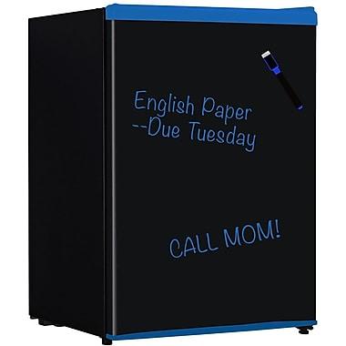 Keystone KSTRC26 2.4 cu. ft. Mini Refrigerator With Wipe Off Board Front, Black/Blue