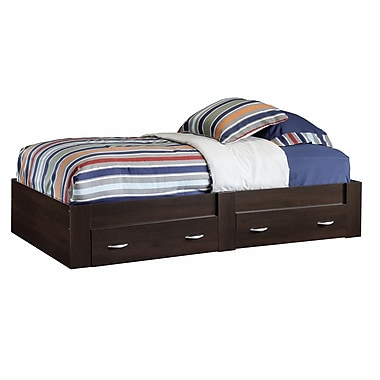 Sauder Beginnings Twin Split-Platform Storage Bed, Cinnamon Cherry