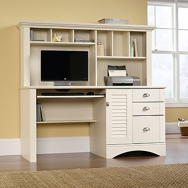 Sauder Harbor View Computer Desk with Hutch, Antique White