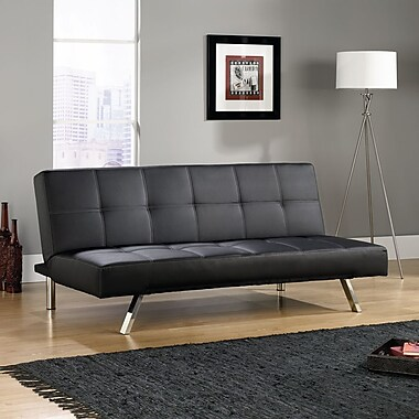 Sauder Cooper DuraPlush Sofa Convertible, Black