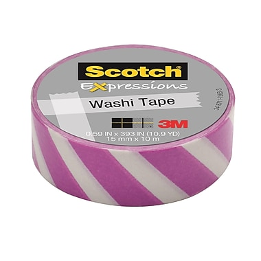 Scotch® – Ruban Expressions Washi, 15 mm x 10 m, rayures violettes