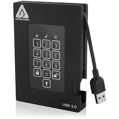 Apricorn Aegis Padlock 500GB Portable USB 3.0 external Hard Drive With Integrated Cable