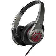 Audio-Technica SonicFuel ATH-AX5GM Wired Headset Microphone, Gray/Red