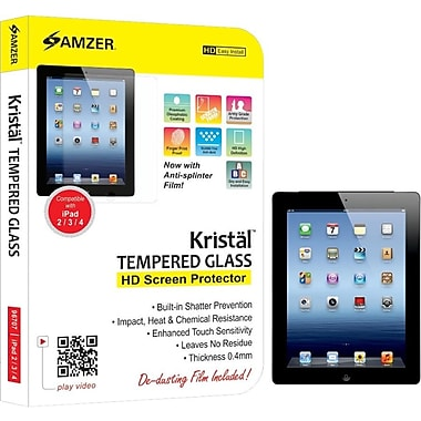 Amzer ® 101945 Kristal ™ Tempered Glass HD Screen Protector for iPad 2/ 3/ 4, Transparent