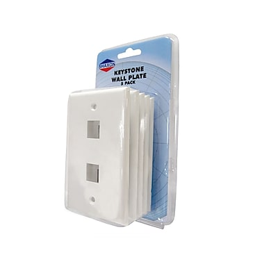 Shaxon 2 Port Single Gang Keystone Wall Plate, White, 5/Pack