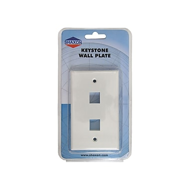 Shaxon 2 Port Single Gang Keystone Wall Plate, White