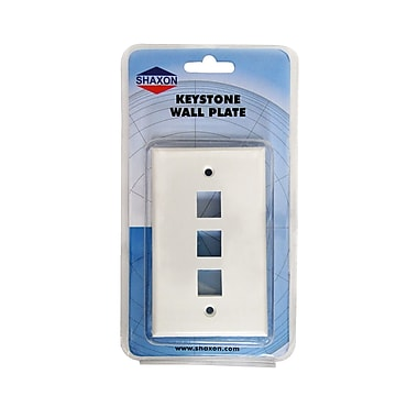Shaxon 3 Port Single Gang Keystone Wall Plate, White