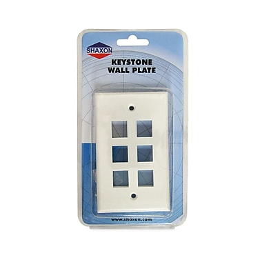 Shaxon 6 Port Single Gang Keystone Wall Plate, White