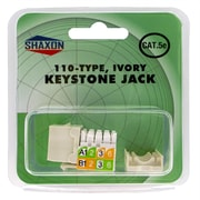 Shaxon Category 5e RJ45/110 568A/B Keystone Jack, Ivory