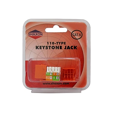 Shaxon Category 6 RJ45/110 568A/B Keystone Jack, Orange
