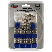 Shaxon Category 6A RJ45/110 568A/B Keystone Jack, Blue, 10/Pack