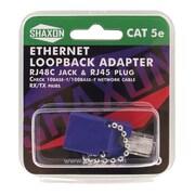 Shaxon Cat5e Ethernet RJ48C Jack And RJ45 Male Loopback Adapter, Dark Blue