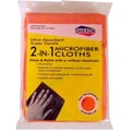 Shaxon 12in. x 16in. 2-in-1 Ultra Absorbent Microfiber Cleaning Cloth, Orange, 6/Pack
