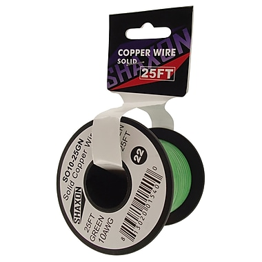 Shaxon 25' Solid Copper 10 AWG Wire On Spool, Green