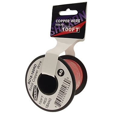 Shaxon 100' Solid Copper 18 AWG Wire On Spool, Red
