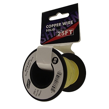 Shaxon 25' Solid Copper 18 AWG Wire On Spool, Yellow