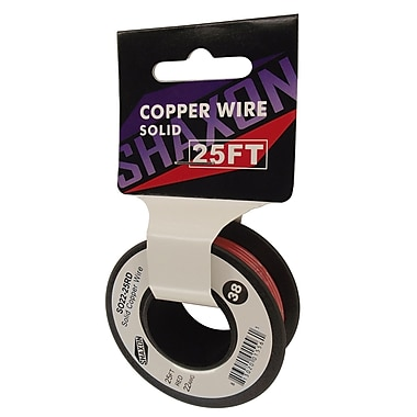 Shaxon 25' Solid Copper 22 AWG Wire On Spool, Red