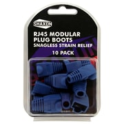 Shaxon Snagless Molded Look Strain Relief Boot For RJ45 Plug, Blue, 10/Pack