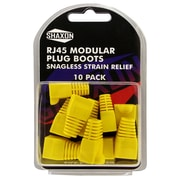 Shaxon Snagless Molded Look Strain Relief Boot For RJ45 Plug, Yellow, 10/Pack