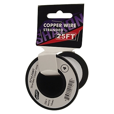 Shaxon 25' Stranded Copper 14 AWG Wire On Spool, White